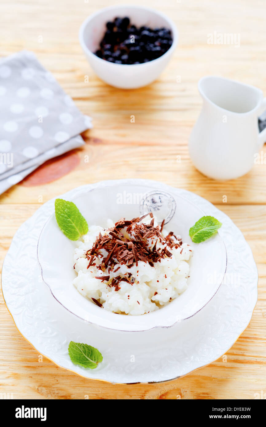 risotto with sweet milk, food closeup - Stock Image