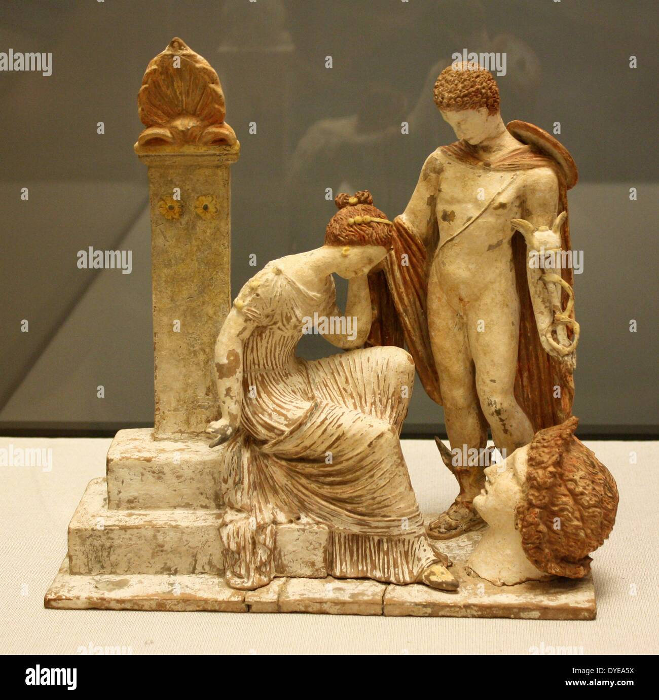 Terracotta figurines made in Tanagra near Athens. Barcelona - Stock Image