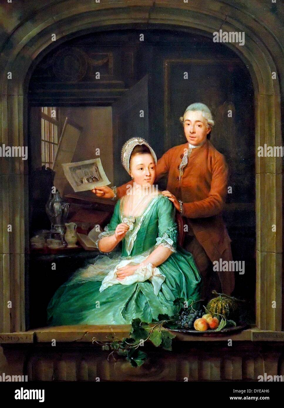 Portrait of Robert Muys and his Wife Maria Nozeman by Nicolaes Muys (1740-1808), oil on panel, 1778. - Stock Image