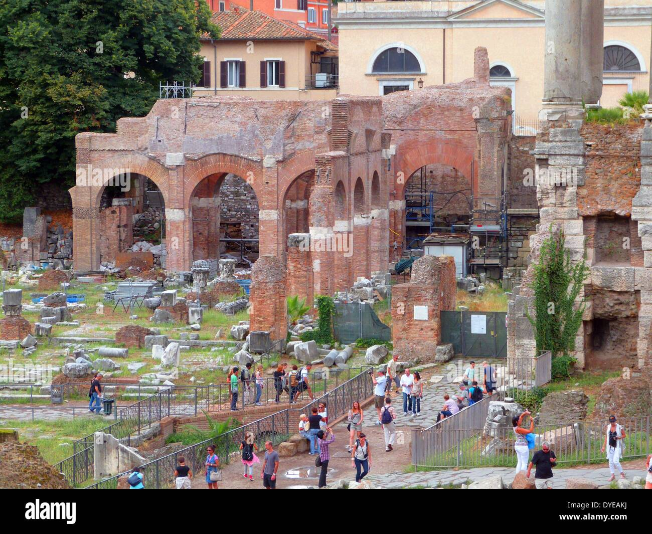 The Roman Forum is a rectangular plaza surrounded by the ruins of ancient government building in the centre of Rome. Rome - Stock Image