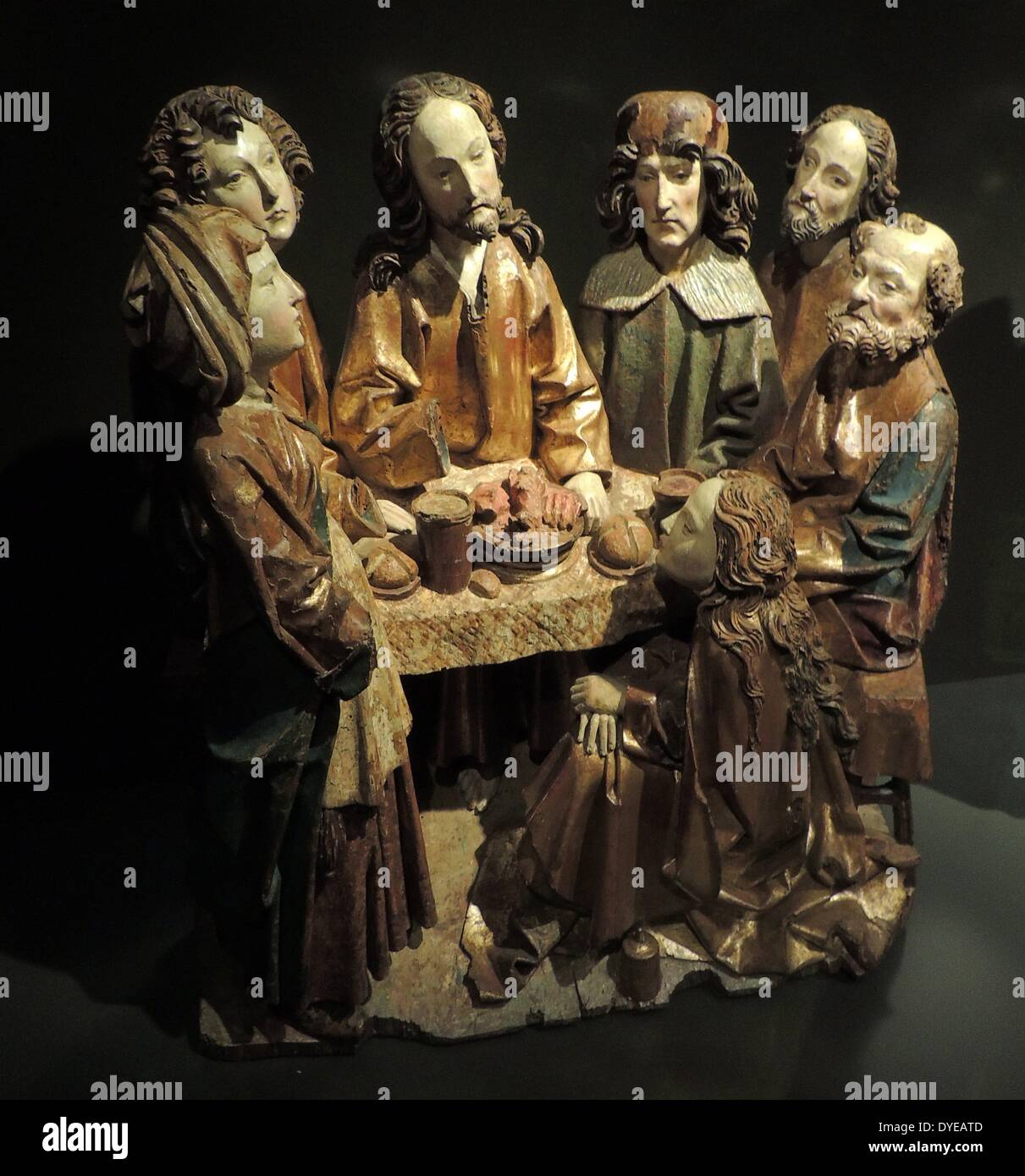 Christ in the House of Mary and Martha. The Last Supper. The Supper at Emmaus. Ulm, c.1520. Stock Photo