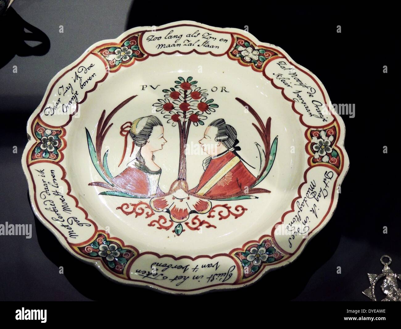 Plate with orange trees and portraits of William V and Wilhelmina of Prussia. Leeds, c1780-1795 painted decoration - Stock Image