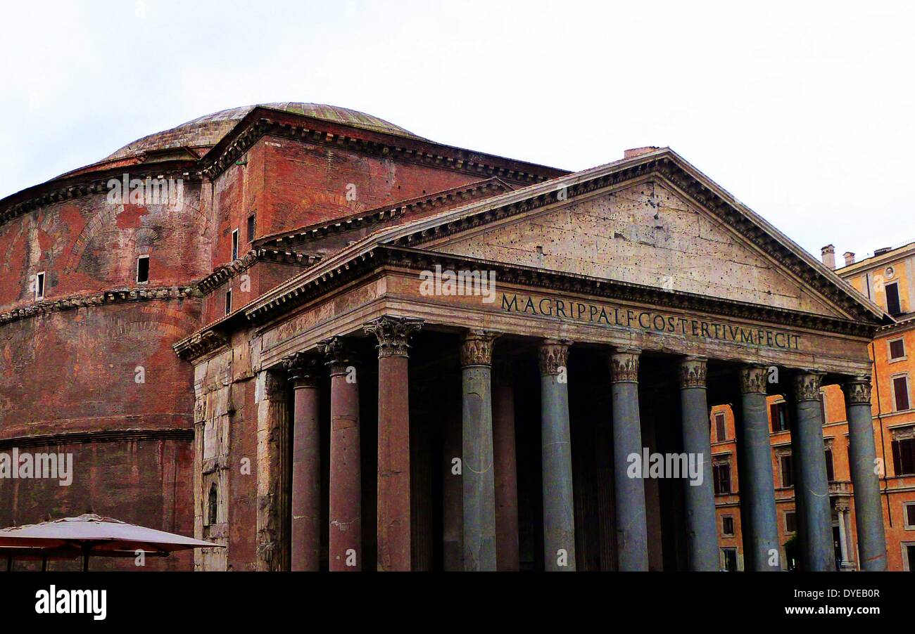 Scenes from the Pantheon (Rome). An ancient Roman temple dedicated to the gods of Olympus Stock Photo
