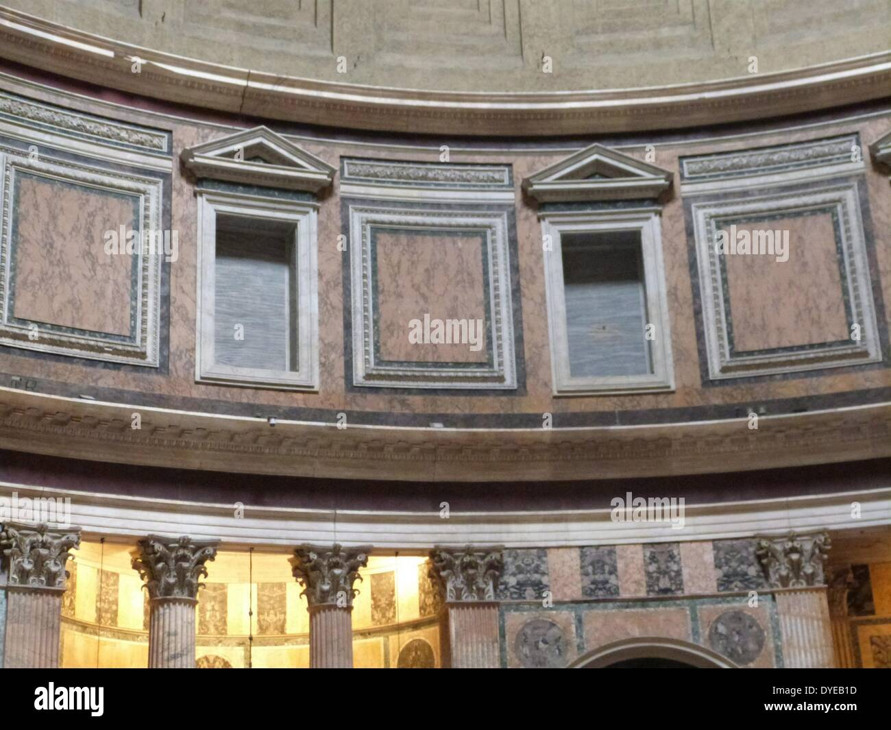 Scenes from the Pantheon (Rome). An ancient Roman temple dedicated to the gods of Olympus - Stock Image