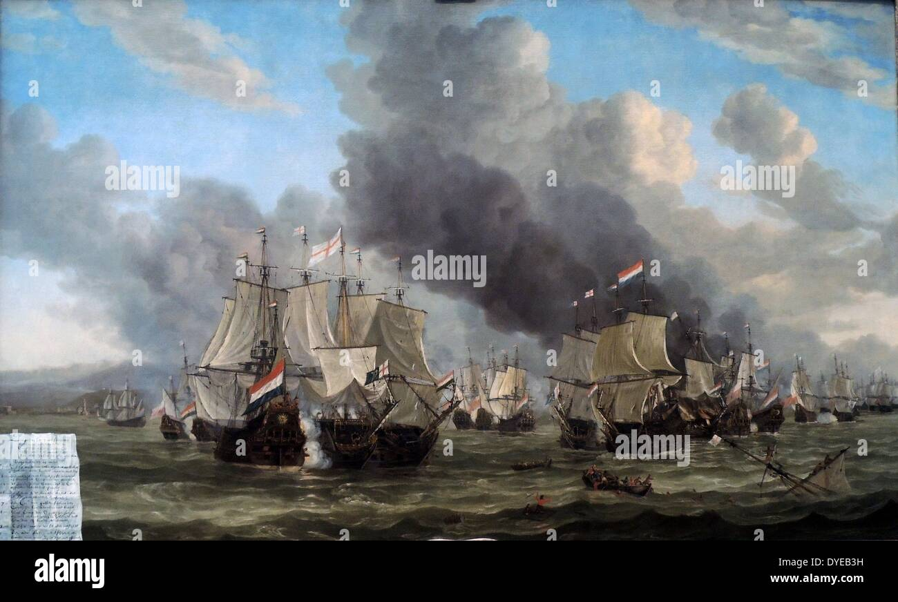 The Battle of Livorno by Reinier Nooms, called Zeeman (c. 1623/4-1664) oil on canvas, 1653-1664. A painted sheet of paper at - Stock Image