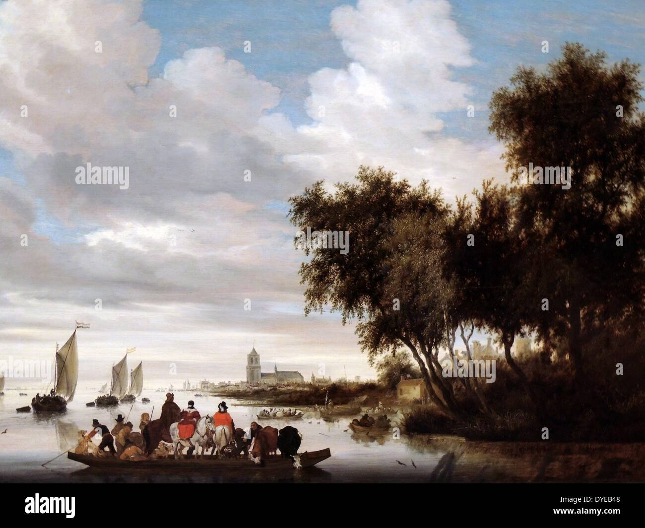 River Landscape with Ferry by Salomon van Ruysdael (c. 1600-1670) oil on panel, 1649 With three horses, four dogs, Stock Photo