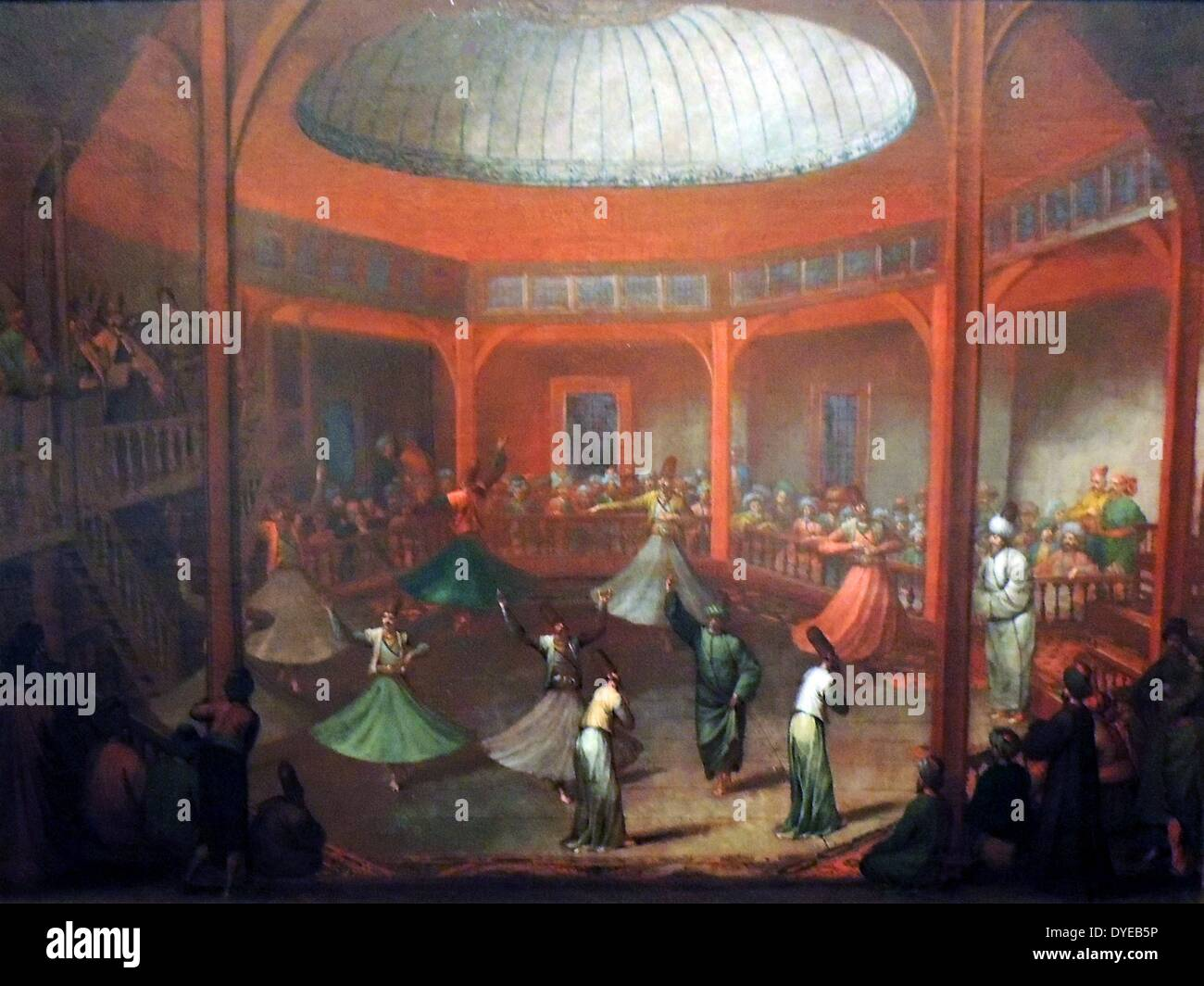 Whirling Dervishes by Jean Baptiste Vanmour (1671-1737) oil on canvas, c 1720-1737. Dervishes occupied a special place in - Stock Image