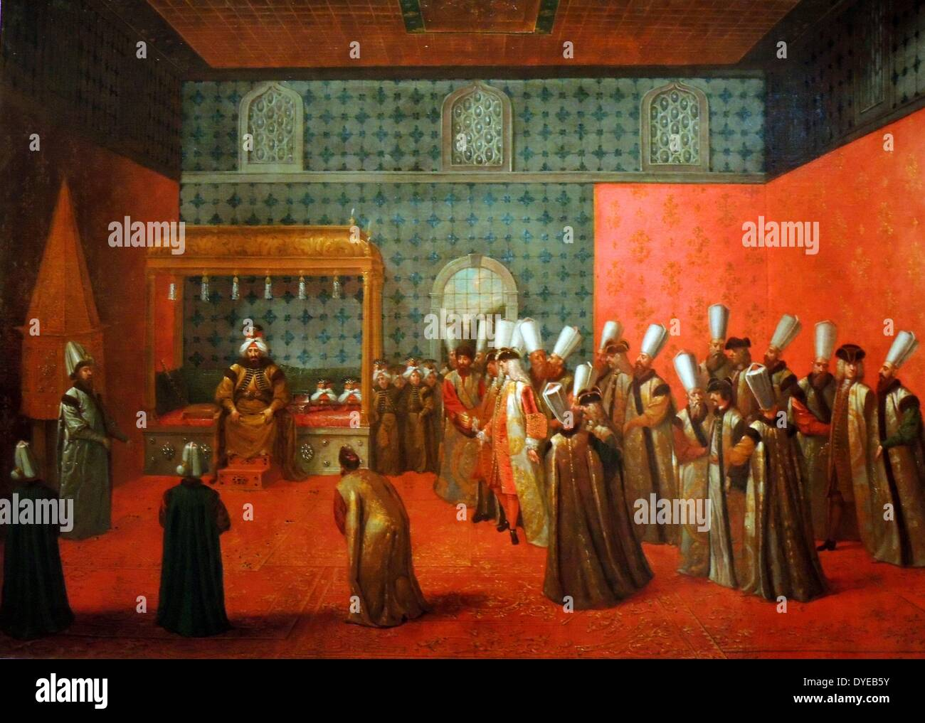 Ambassador Cornelius Calkoen at Audience with Sultan Ahmed III by Jean Baptiste Vanmour (1671-1737) oil on canvas c 1727-1730 - Stock Image