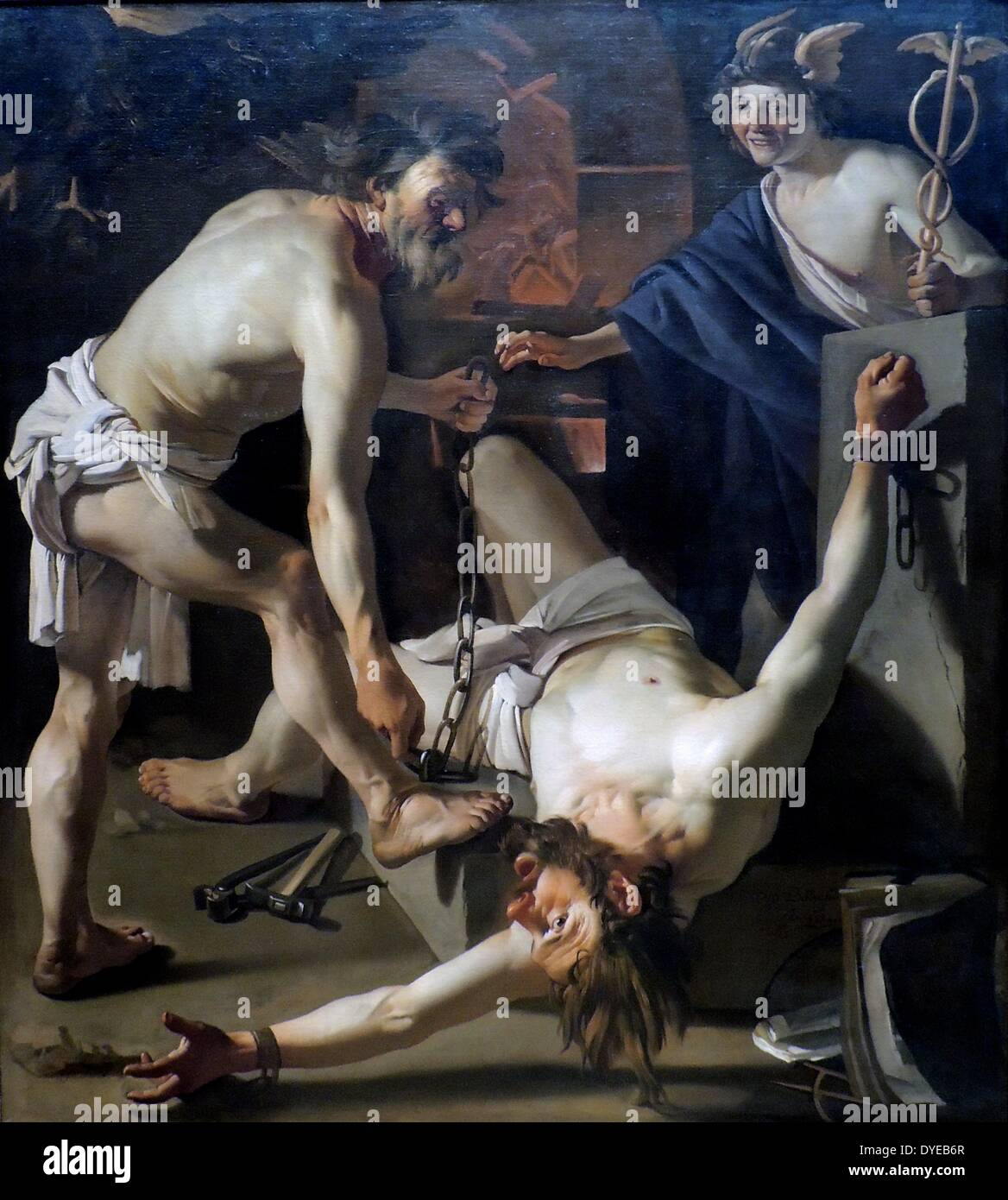 Prometheus Being Chained by Vulcan by Dirch van Baburen (c.1595-1624) oil on canvas, 1623) oil on canvas, 1623. - Stock Image