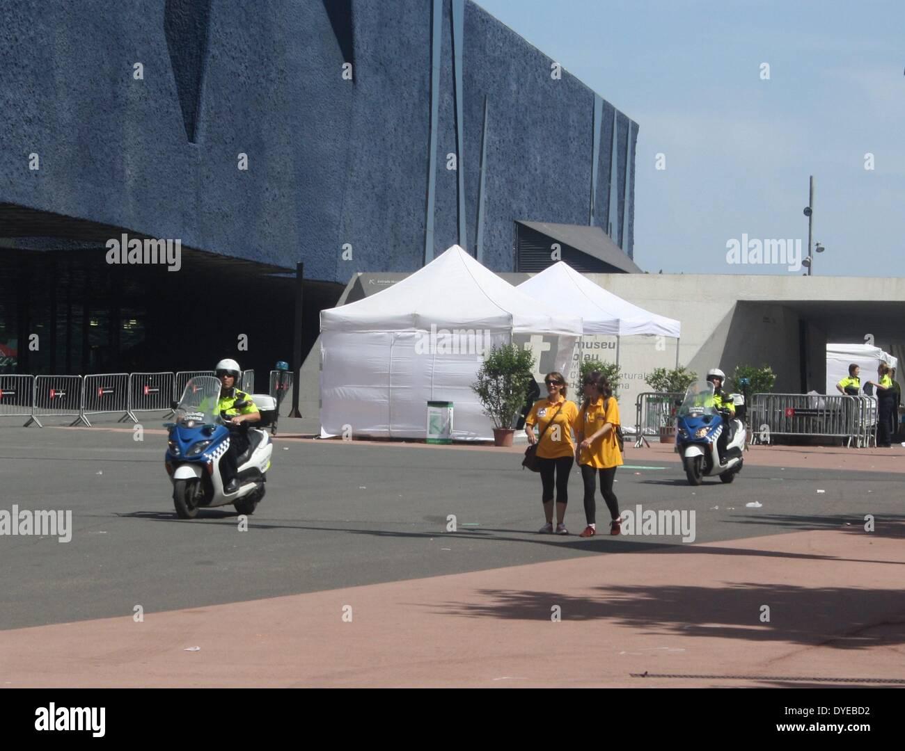Police emergency motor bikes in Barcelona. Barcelona - Stock Image