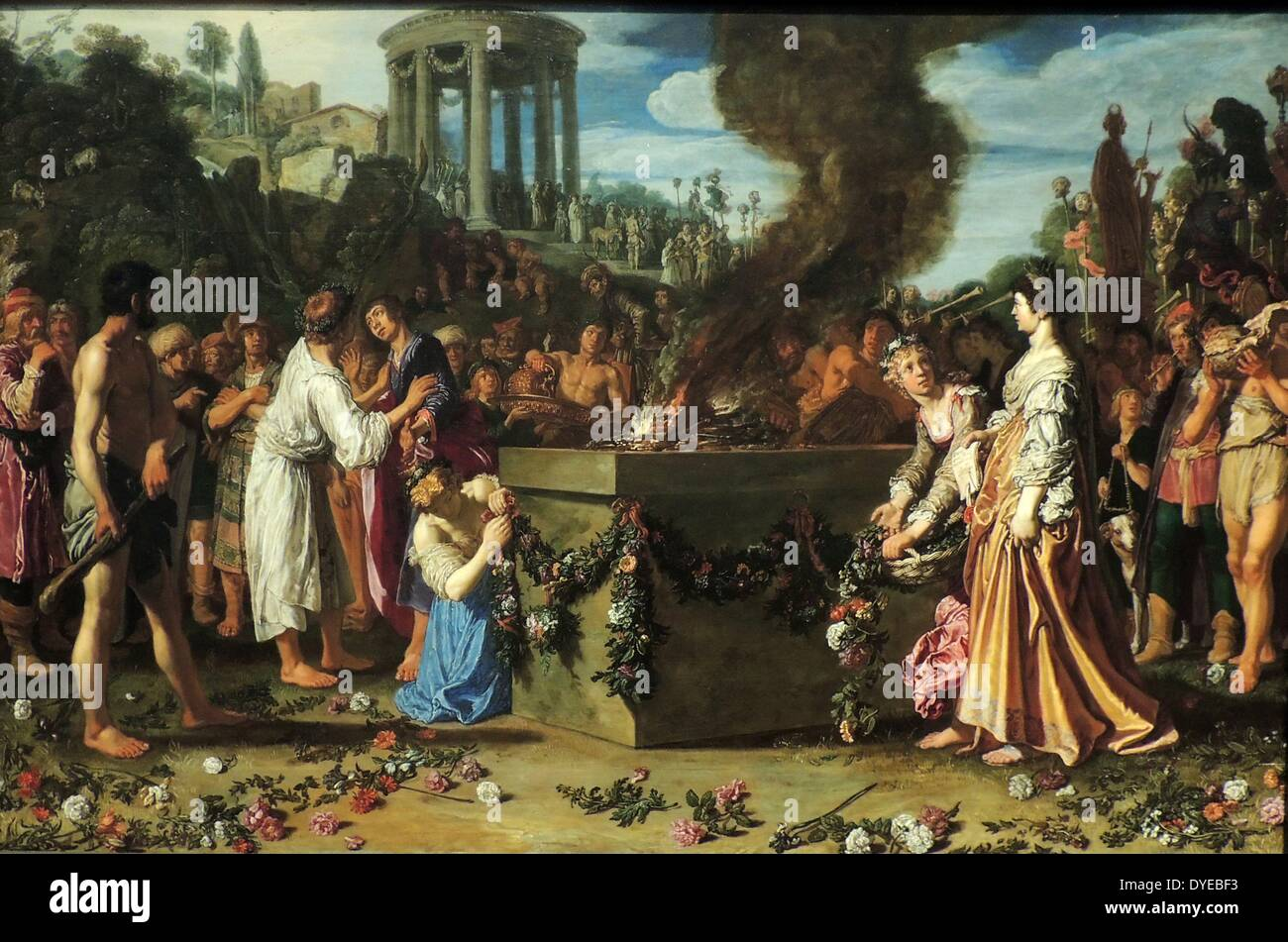 Orestes and Pylades Disputing at the Altar by Pieter Lastman (c. 1583-1633) oil on panel, 1614. - Stock Image