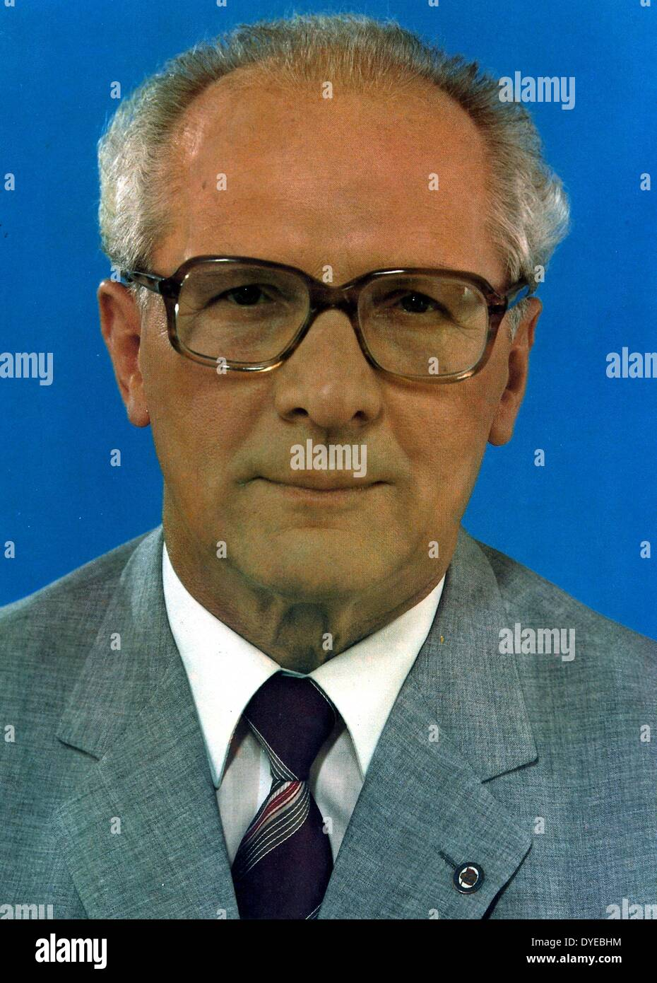 Erich Honecker 1912-1994, German communist politician who led East Germany as the General Secretary of the Socialist Unity - Stock Image