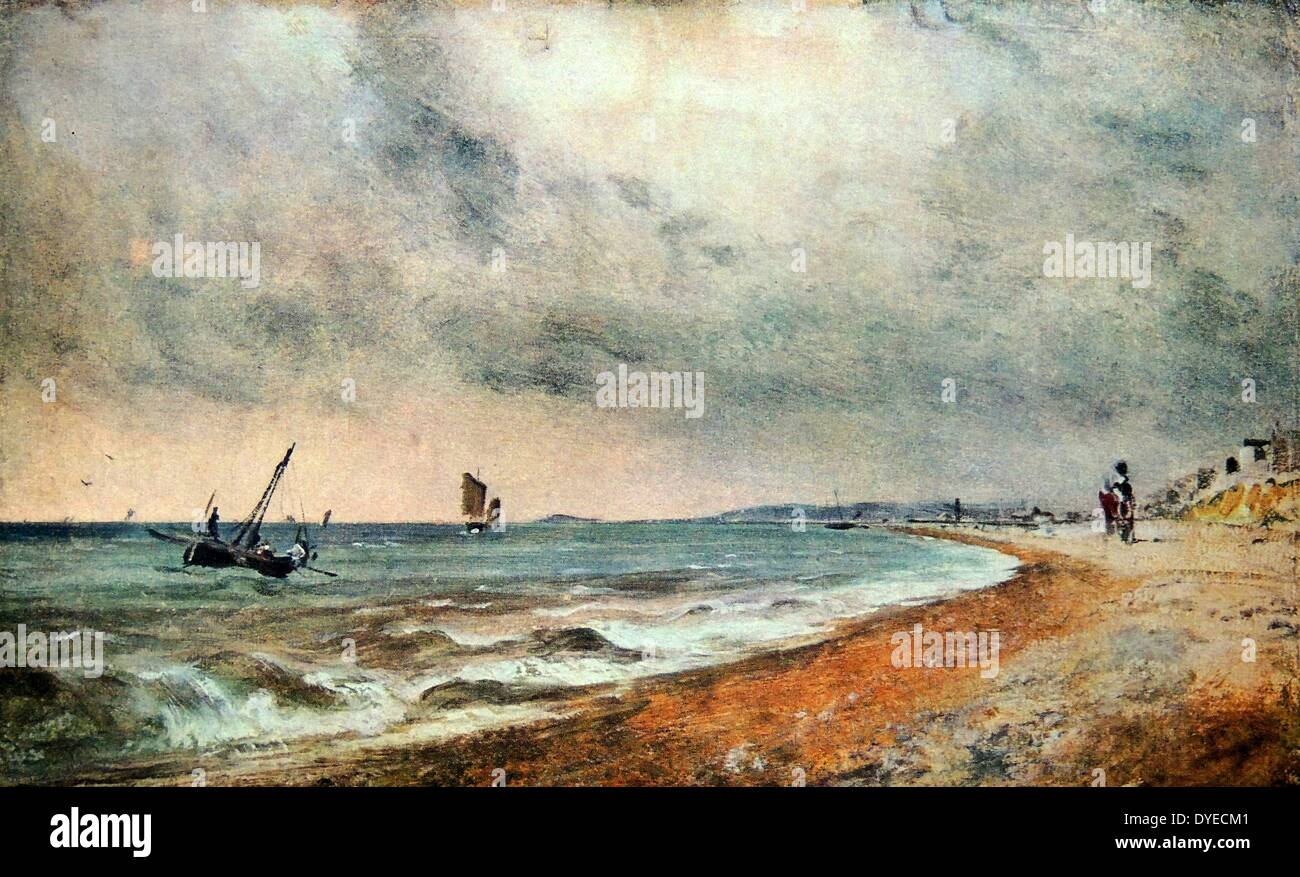 Oil Landscape painting titled 'Hove Beach with Fishing Boats'. The painting depicts fishing boats close to Hove Stock Photo