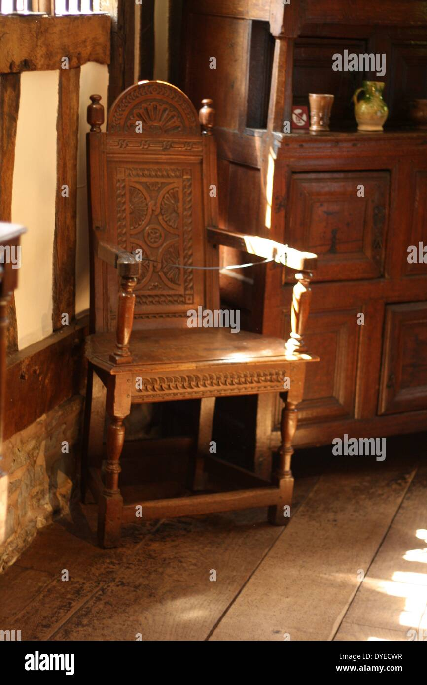 Jacobean Wooden High Chair 16th Century A.D. Stock Photo