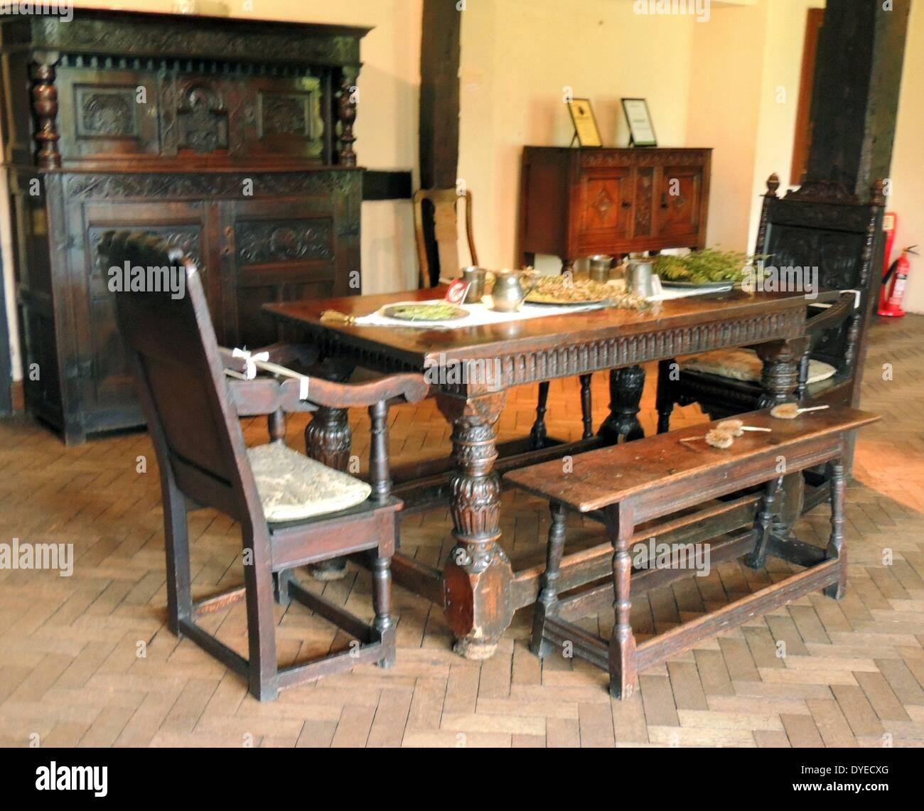 17th Century Wooden Dining Table And Room A.D.