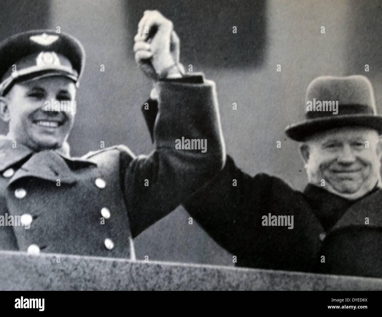Yuri Gagarin with Nikita Khrushchev - Stock Image