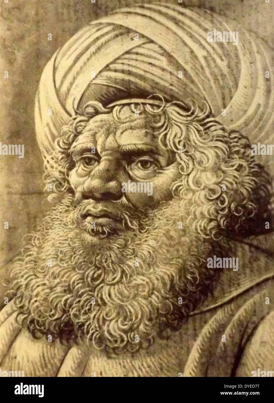 Head of a Bearded Man Wearing a Turban - Stock Image