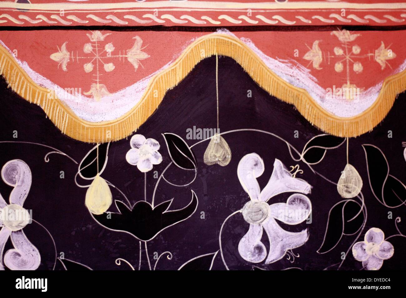Restored Elizabethan Wall Coverings. - Stock Image