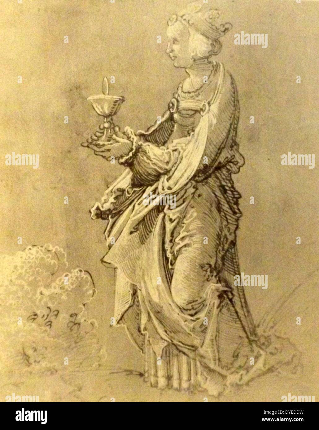 Drawing of Saint Barbara - Stock Image