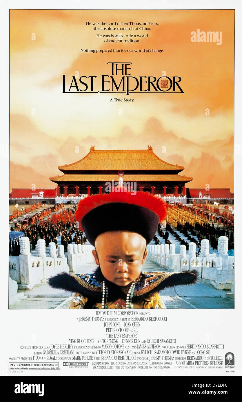 poster for the film 'The Last Emperor' a 1987 biopic about the life of Puyi, the last Emperor of China, screenplay written by - Stock Image