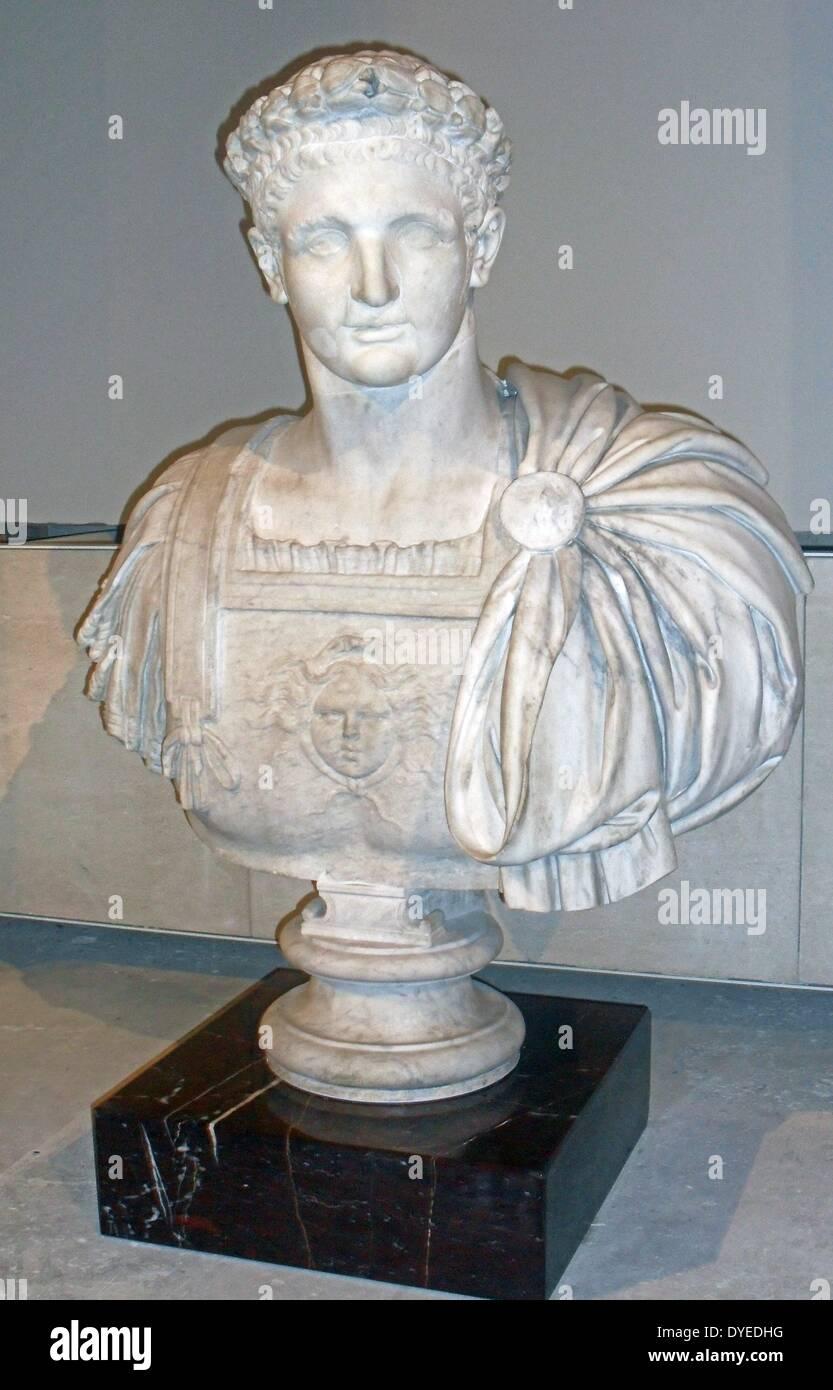 Marble bust of Emperor Domitian 90 B.C. - Stock Image