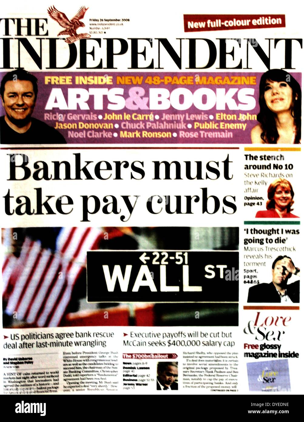 Front page of the Independent Newspaper 2008 A.D. - Stock Image