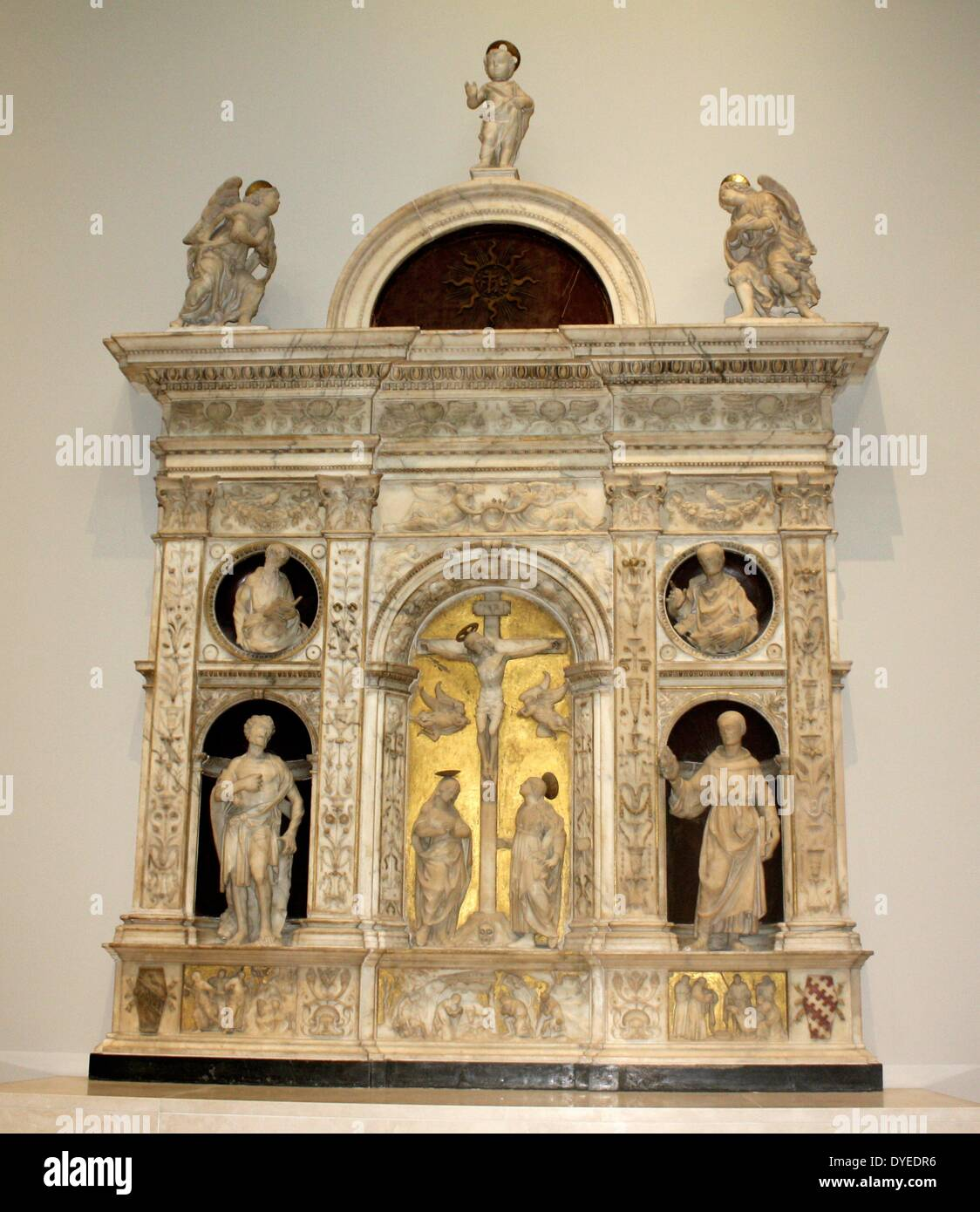 Altarpiece with the Crucifixion Flanked by Saints 1493 A.D. - Stock Image