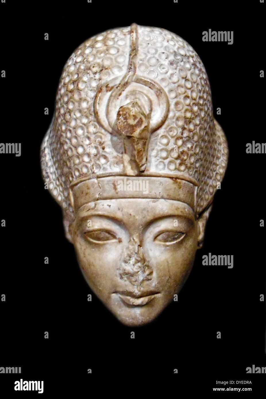 Head of King Tutankhamun 1336 B.C. - Stock Image