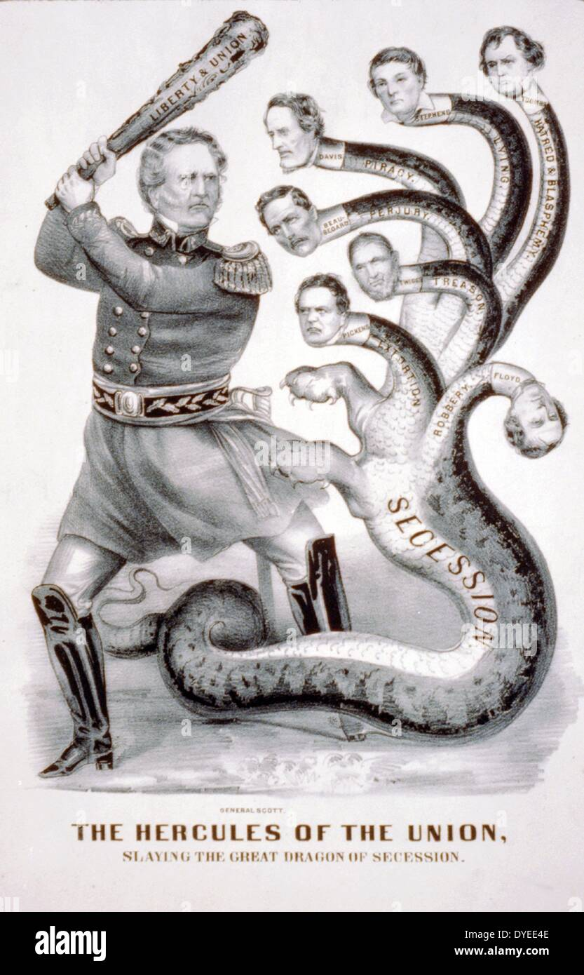 The Hercules of the Union, slaying the great dragon of secession 1861 A.D. - Stock Image