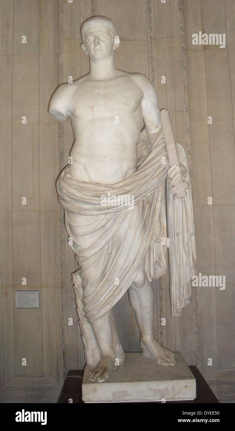 Marble Statue of Emperor Claudius 45 A.D. - Stock Image