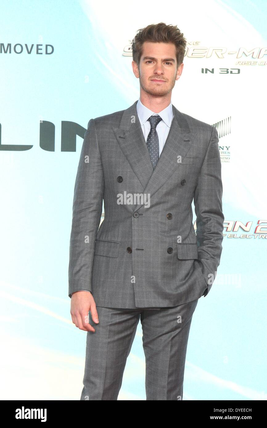 Berlin, Germany. 15th Apr, 2014. Andrew Garfield at the premiere of the movie 'The Amazing Spider-Man 2' at the Sony Center Theater in Berlin, Germany. On April 15, 2014. Credit:  dpa picture alliance/Alamy Live News - Stock Image