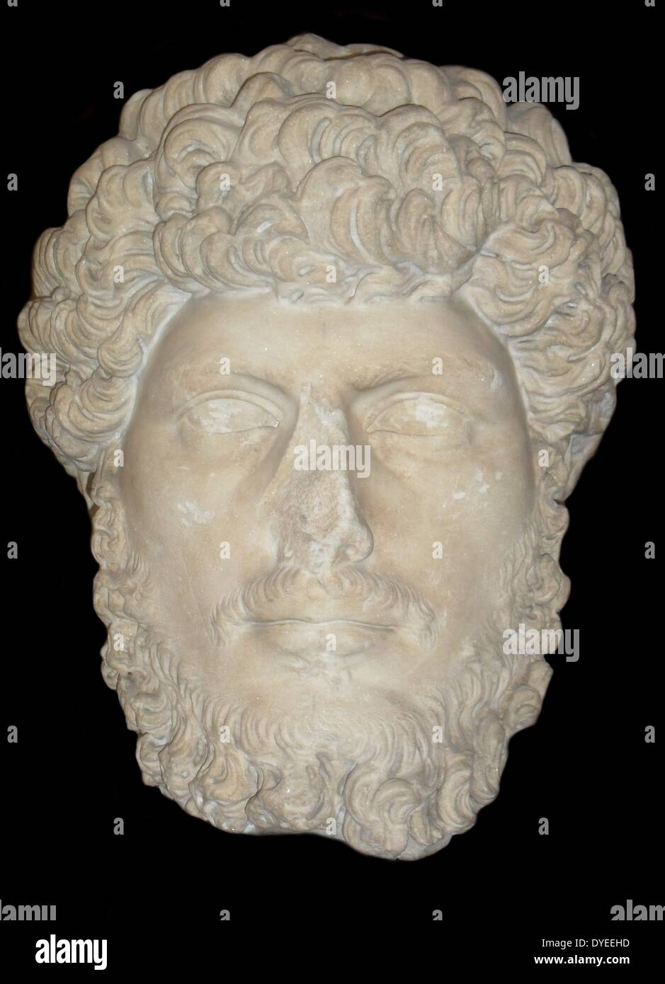 Marble Bust of Emperor Lucius Verus 161 A.D. Stock Photo