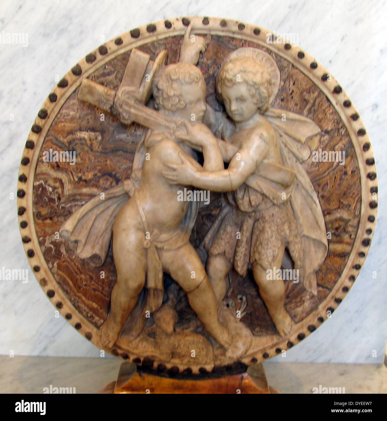 Marble carving of Infant Jesus and John the Baptist 1474 A.D. - Stock Image