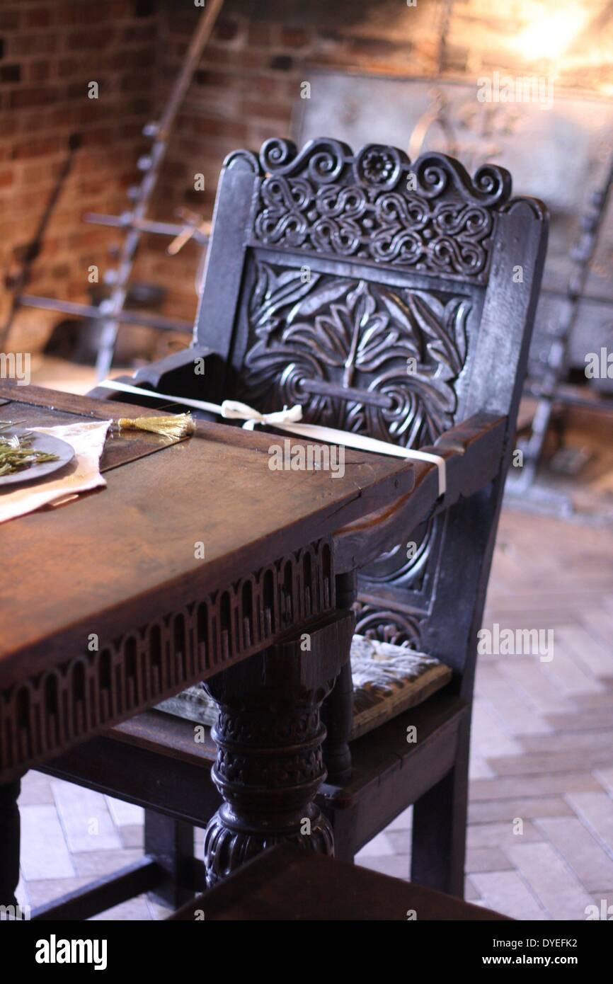 Jacobean Wooden High Chair 16th Century A.D. Stock Photo