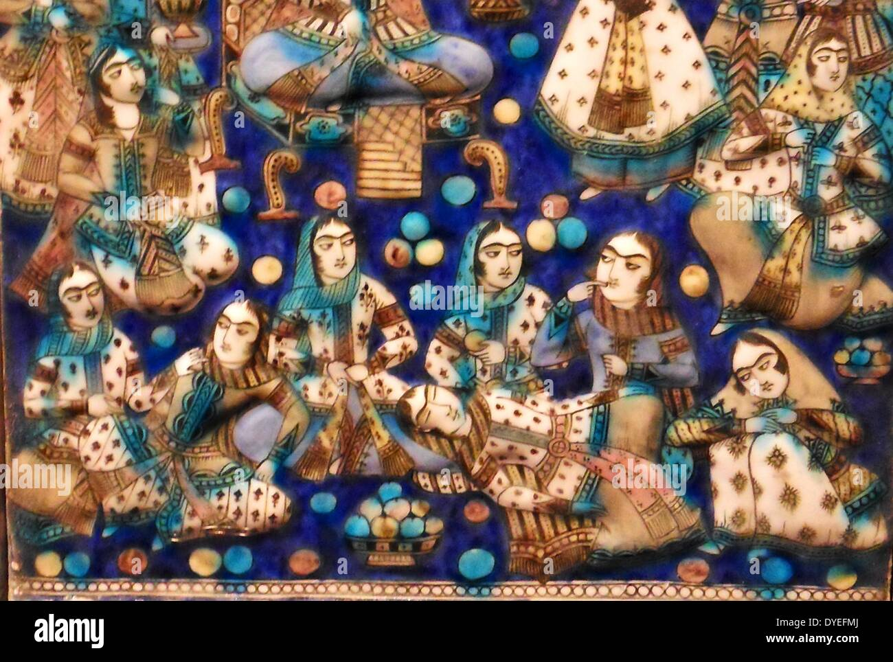 Decorative Tiles from Iran 1876 A.D. - Stock Image