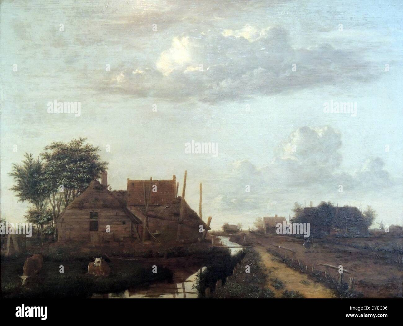 A Landscape with Cottages' by Emanuel Murant 1646 A.D. - Stock Image