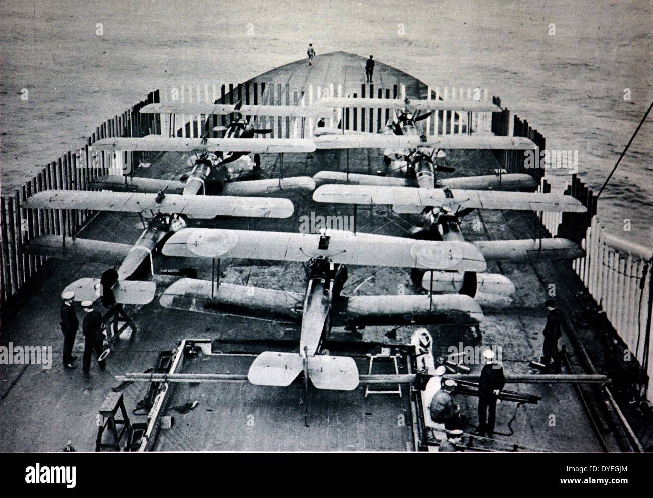 Aeroplanes aboard H.M.S. Furious - Stock Image