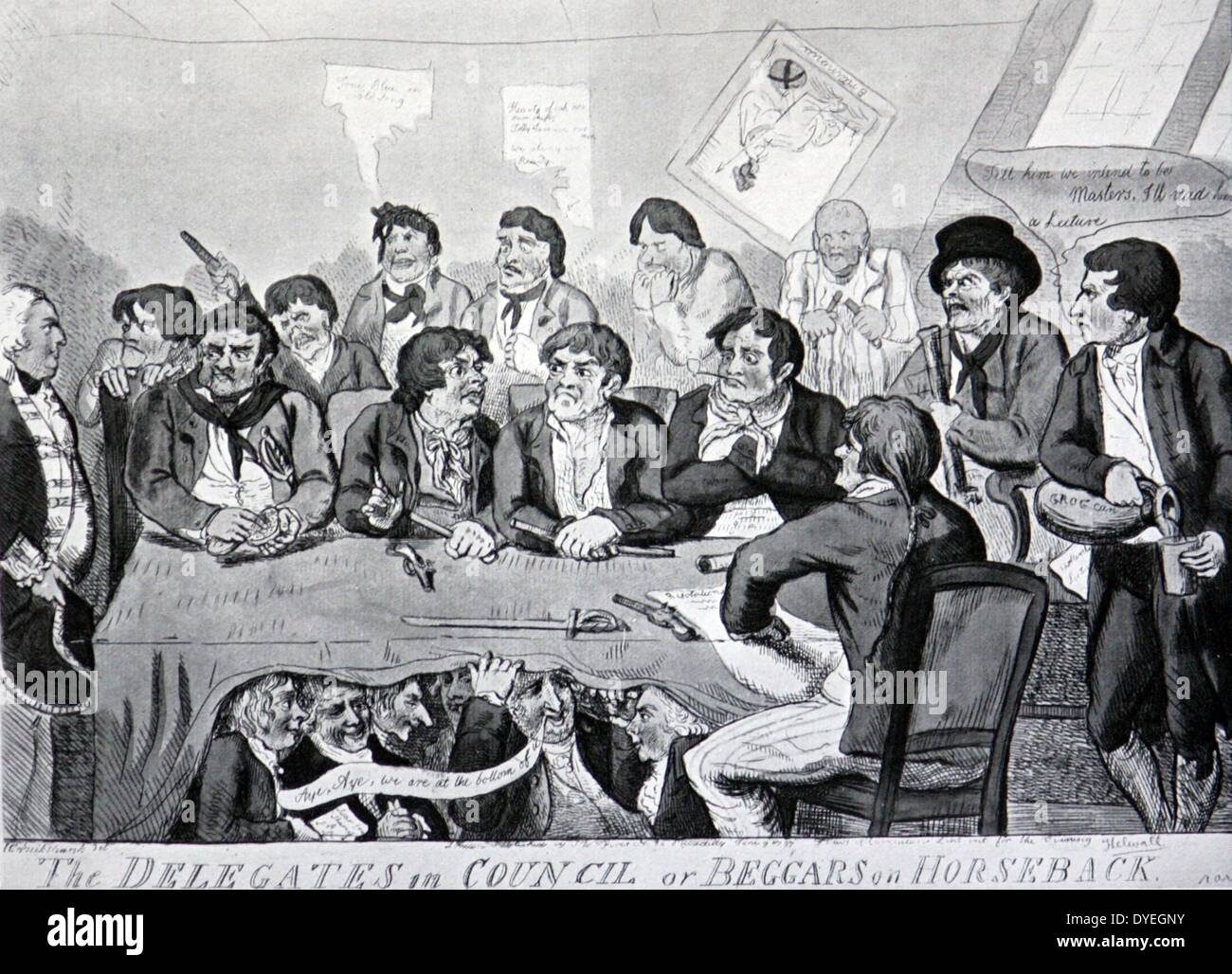 The mutiny at the Nore - a contemporary caricature - Stock Image