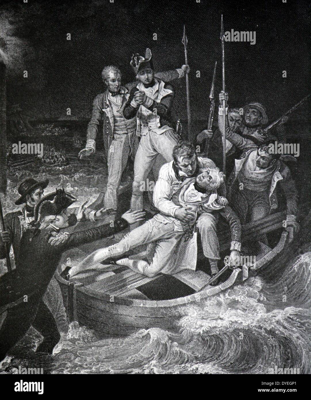Engraving of Nelson wounded at Tenerife - Stock Image