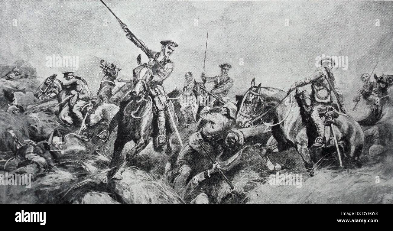 The British Expeditionary Force lancers charging German positions - Stock Image