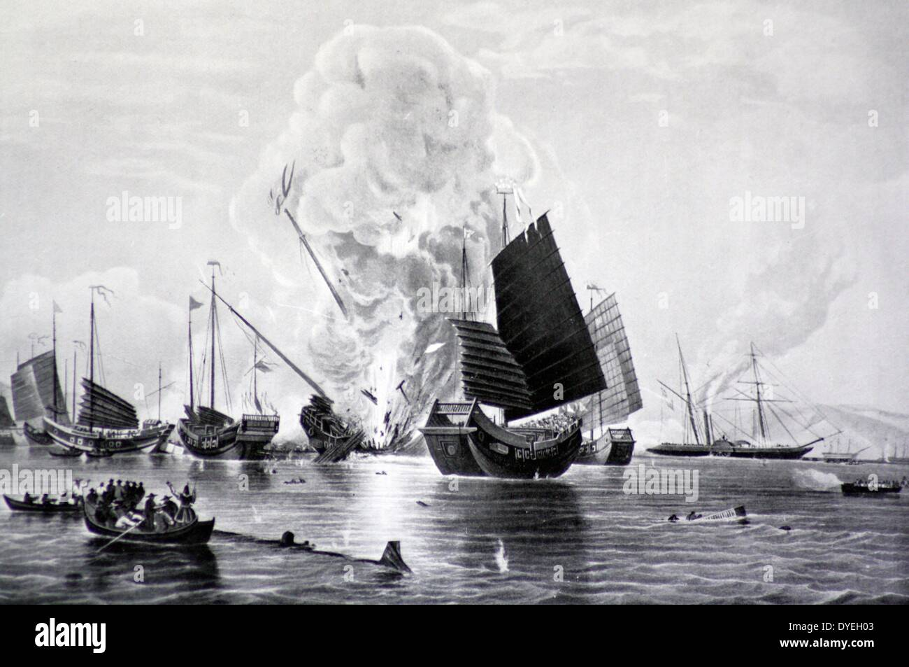 Iron steamship Nemesis destroying Chinese War Junks - Stock Image