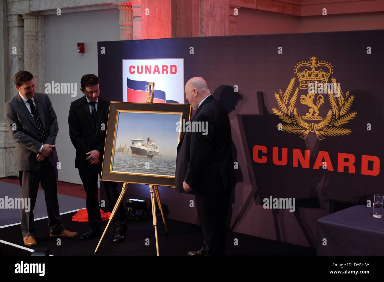 Cunard Building, Liverpool. 16th April, 2014. Liverpool's Mayor Joe Anderson and Cunard's director Angus Struthers unviel a unique portrait of Cunard's first ship the Britania and their current flagship the Queen Mary 2. Credit:  Peter Carr/Alamy Live News - Stock Image