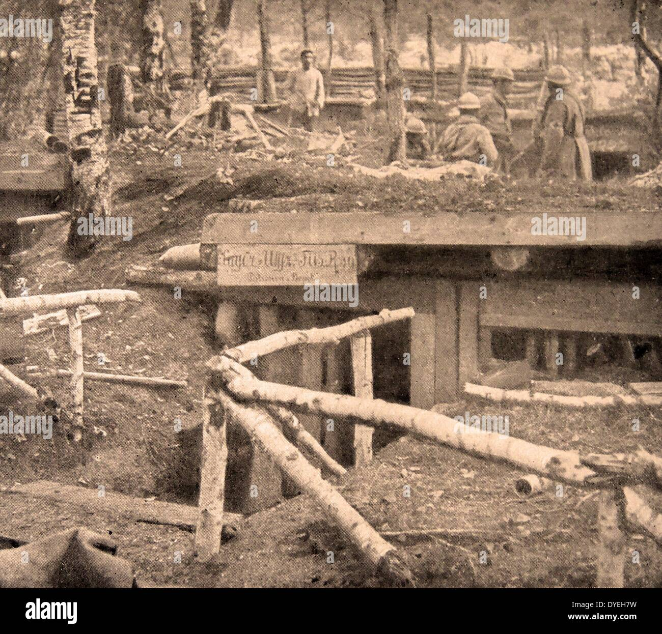 Housing for soldiers consisted of dugout trenches - Stock Image