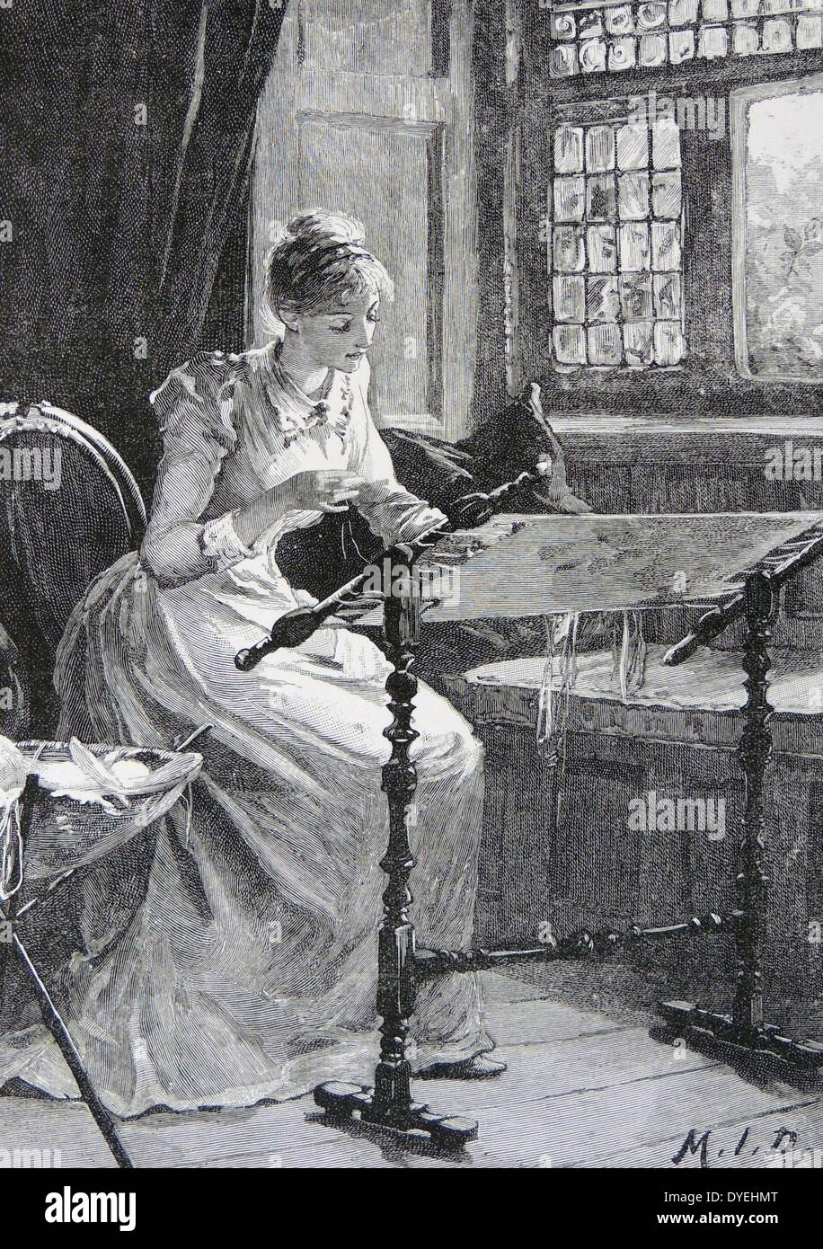Woman working on a piece of needlepoint - Stock Image