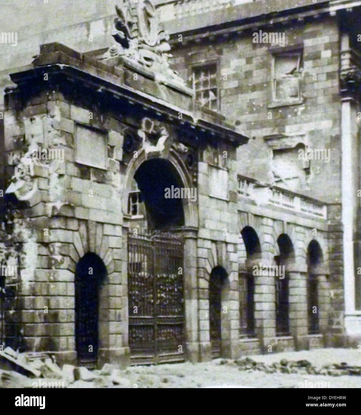 Destruction at the the Four Courts, during The Easter Rising also known as the Easter Rebellion, was an armed insurrection Stock Photo