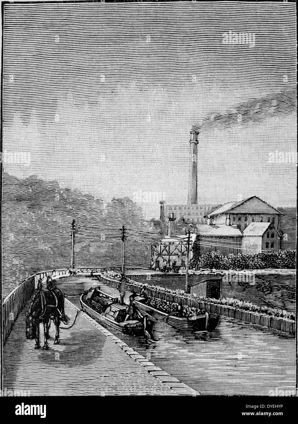 Horse-drawn barges crossing on the Barton viaduct over the river Irwell on the Duke of Bridgewater's canal, built by James Bindley. Engraving, London, 1892. Stock Photo