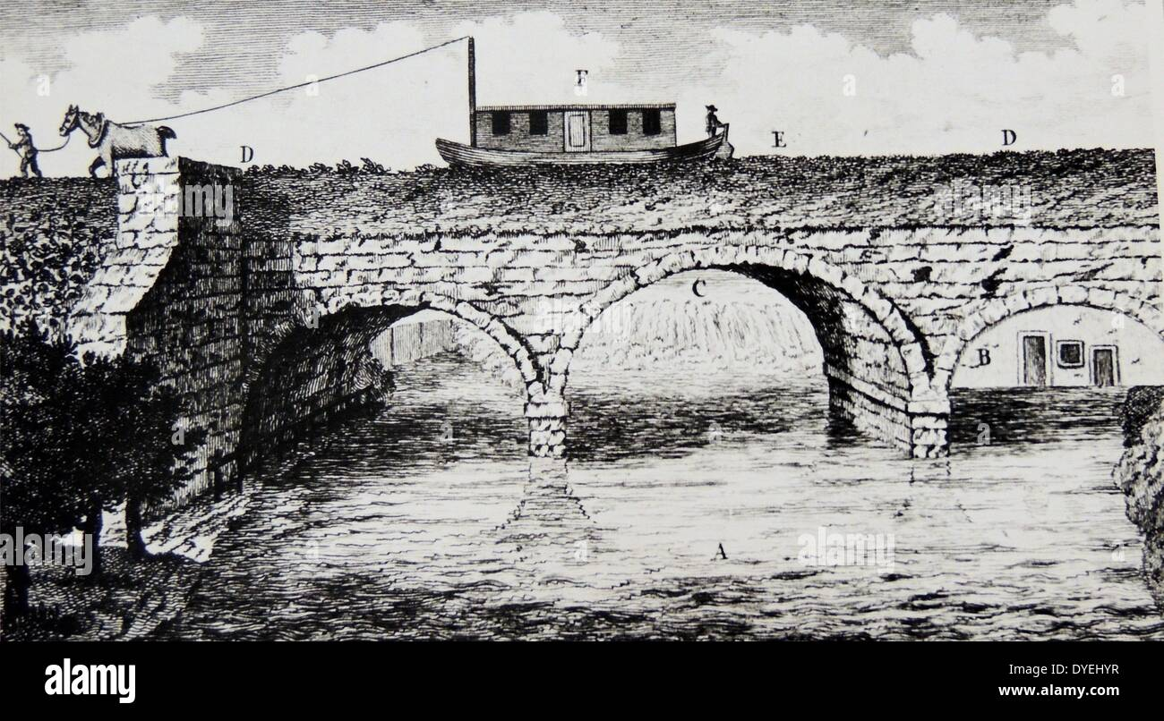 Aqueduct carrying the Duke of Bridgewater's canal over the River Irwell at Barton Bridge. Engineer, James Brindley.  Engraving from ''A Six Months Tour Through the North of England'', London, 1770, by Arthur Young. Stock Photo