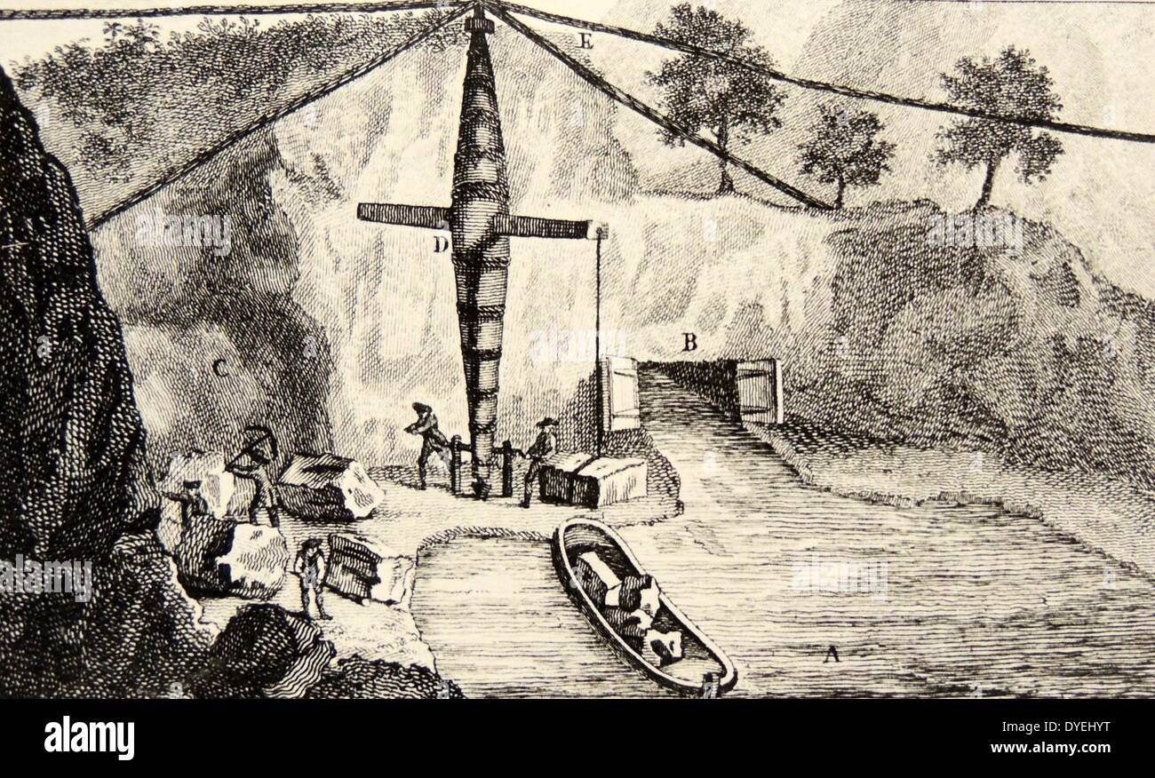 Entrance to the Worsley tunnel on the Duke of Bridgewater's Canal. Engineer, James Bindley. Building stone is being loaded onto a barge.  Engraving from ''A Six Months Tour Through the North of England'', London, 1770, by Arthur Young. Stock Photo