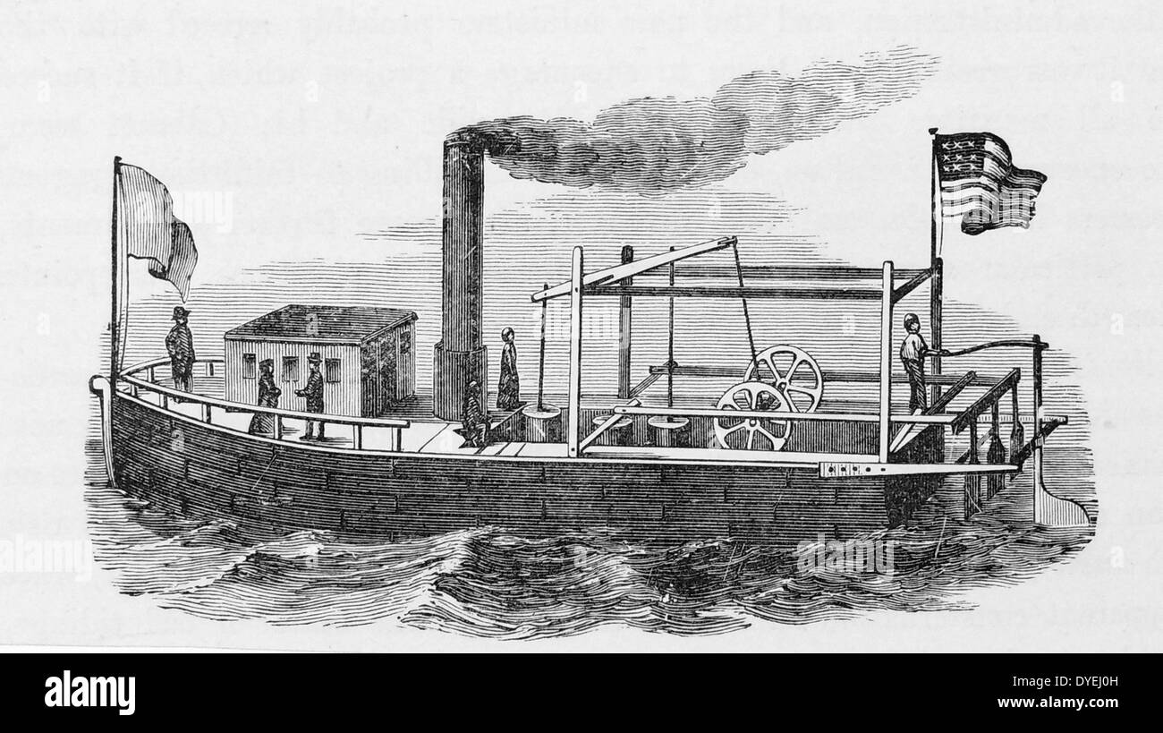 One of John Fitch's steamboats c1790; this model had three paddles at the stern and reached a speed of 8 miles (13km) per hour. - Stock Image
