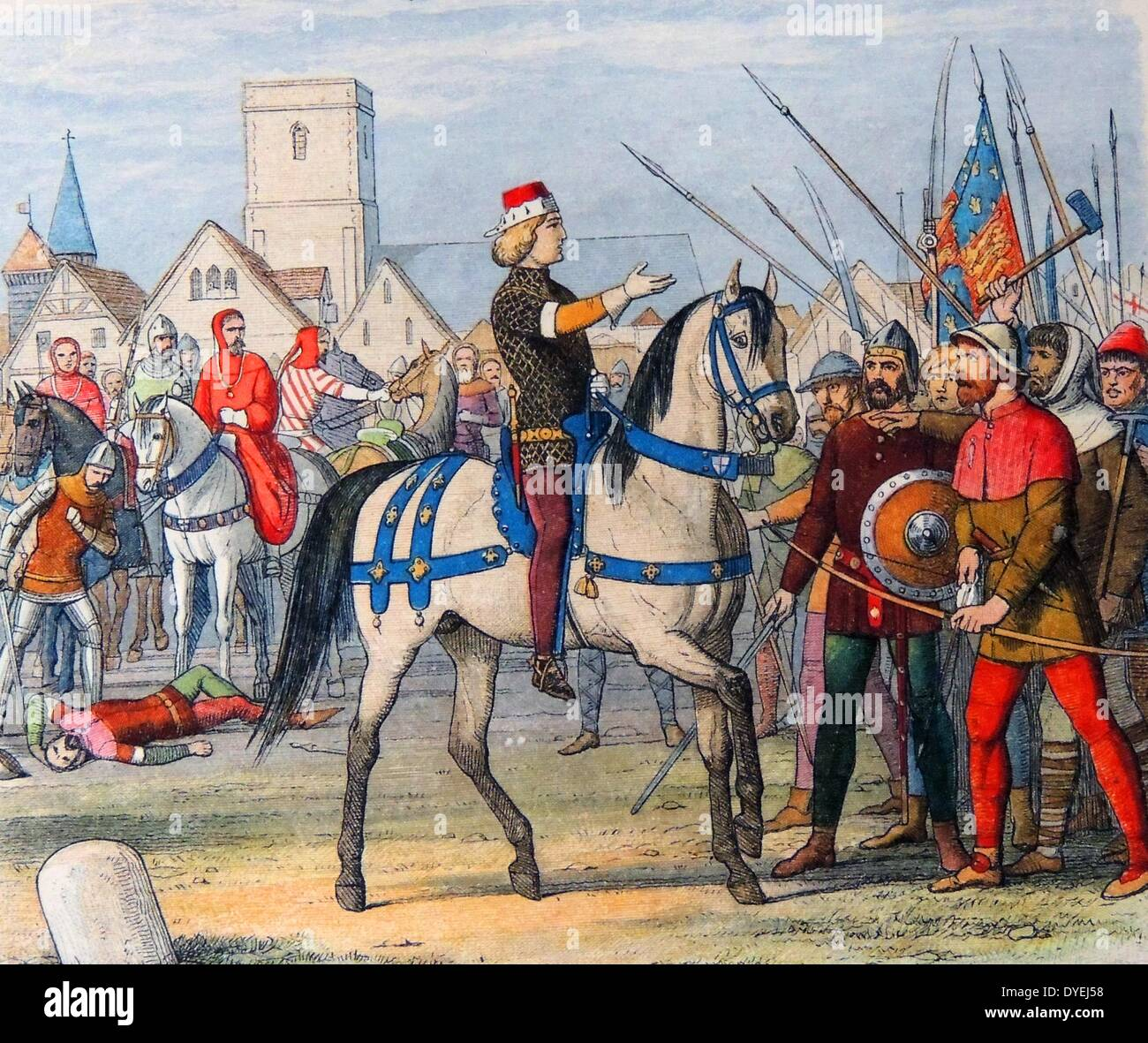 King Richard II of England assumes the command of the rebels 1381 A.D. - Stock Image